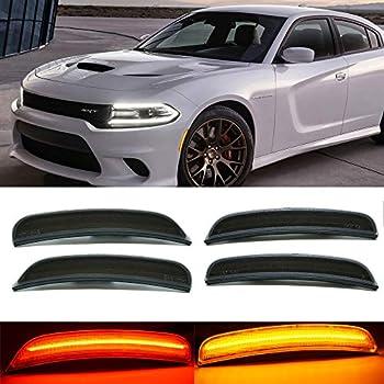 LED Side Marker Lights For 2015-2020 Dodge Charger Smoked Lens Laser Style Front + Rear