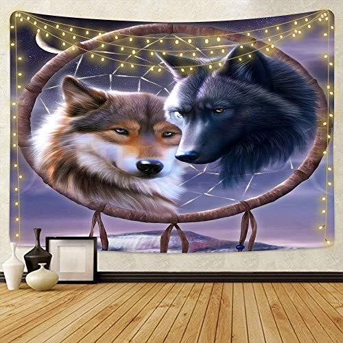 GenericBrands Tapiz de Lobo Lobos Azules sobre Fondo de montaña Paño Decoración del hogar para Dormitorio Sala de Estar Dormitorio Decoración de la Pared del Partido