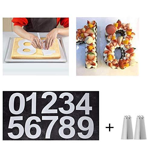TXIN 1 Set Zahlen Geformt Kuchenform 0-8 Schablone Digitale Stampers mit 2 Stück 8 Zähne Düsen