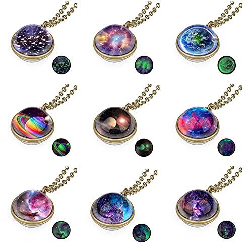 Collares colgantes nebulosa 9 piezas collar de bolas de universo de vidrio de sistema solar galaxy planet (Multi)