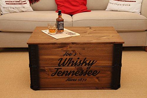 Uncle Joe´s Truhe Whisky Couchtisch Truhentisch im Vintage Shabby chic Style aus Massiv-Holz in braun mit Stauraum und Deckel Holzkiste Beistelltisch Landhaus Wohnzimmertisch Holztisch nussbaum - 2