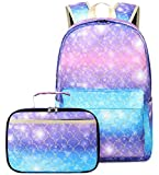 Backpack for Girls School Backpacks Lunch Box Set Mermaid Scales Teen Girl Bookbag Schoolbags