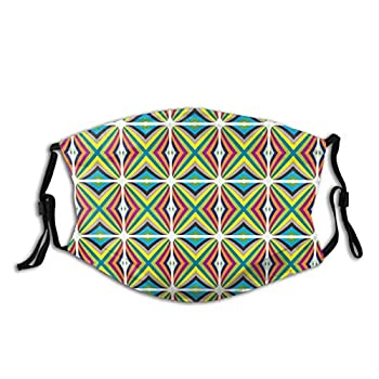 Creative Contemporary Geometric Themed Fractal Style Colorful Bars in Squares,Reusable Face Mask Balaclava Washable Outdoor Nose Mouth Cover for Men and Women