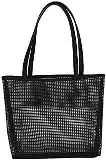 SODIAL Handbags Female New Korean Fashion Mesh Mother Bag Simple Wild Shoulder Bag Tote Bag Light Grey