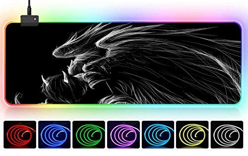 LED-Computer beleuchtet 3D-Skizze Drachen schwarz und weiß kreativ cool minimalistisch Mauspad groß xxl900x400x3mmxl Mädchen esports dekorative Mauspad