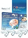 Ferula dental para bruxismo (4)| 100% libre de BPA | Tecnología de fácil moldeado | Paquete de seis protectores dentales en tres tamaños | Protector dental para evitar el rechinamiento (4pk Regular)