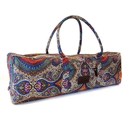 Kindfolk Yoga Mat Duffle Bag Patterned Canvas with Pocket and Zipper (Celestial Duffel)