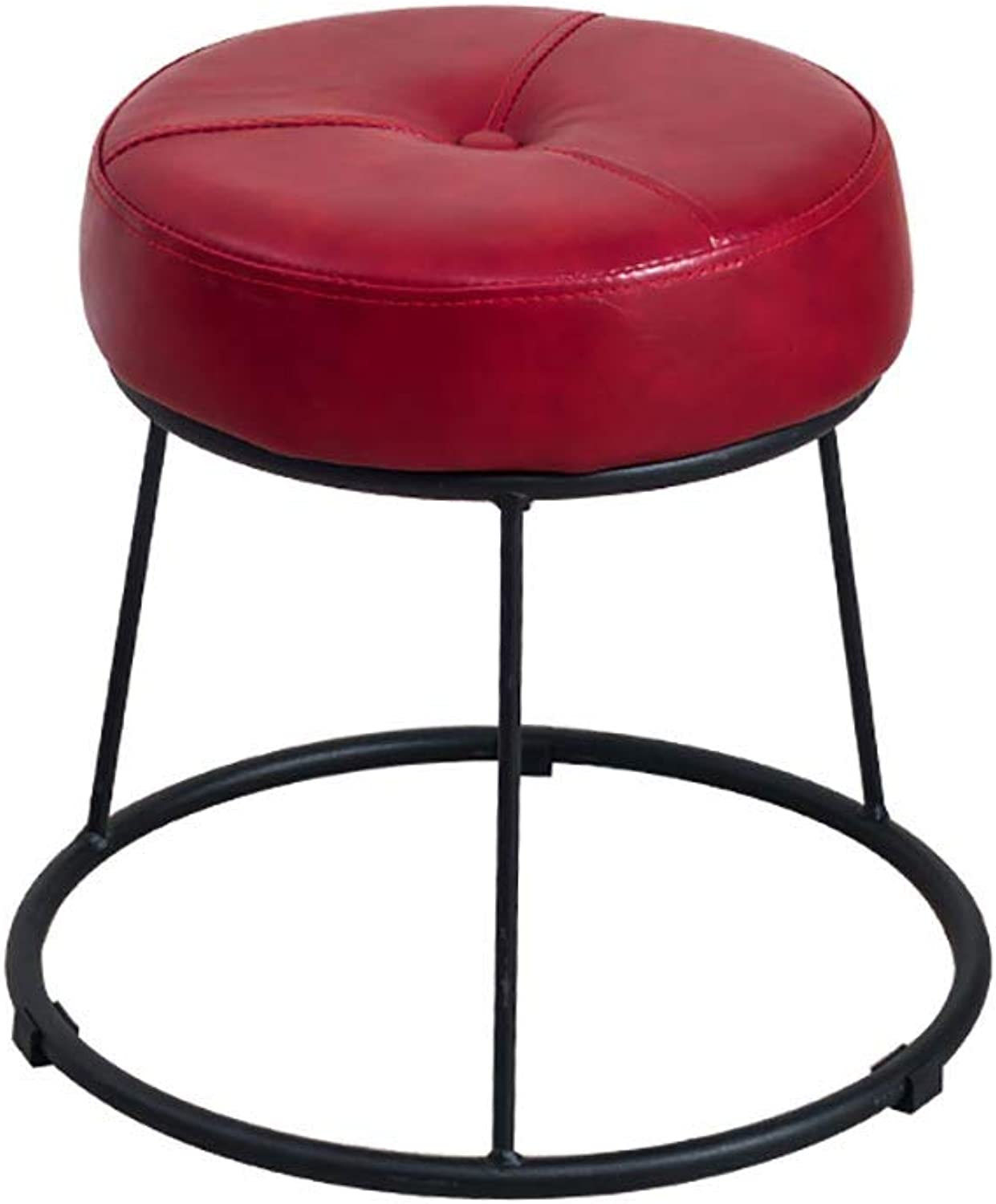 Round Footstool shoes Bench Table Stool Makeup Stool Leather Breathable Wrought Iron wear-Resistant Anti-Skid Load-Bearing (color   RED, Size   31.5  36.5cm)