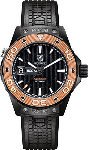 TAG Heuer Aquaracer - Reloj (Reloj de pulsera, Masculino, Titanio, Negro, Oro, Caucho, Negro)