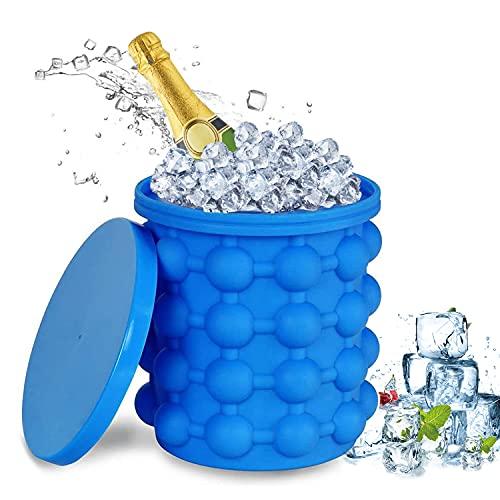 Silicone Secchiello per Il Ghiaccio, Stampo Ghiaccio, Ice Genie Cube Maker 2 in 1 Ice Bucket Secchielli per ghiaccio in silicone con coperchio per Drink Whiskey