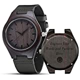 Engraved Wooden Watches, shifenmei S5520 Personalized Engraved Wood Watch Japanese Movement Battery Anniversary Birthday Graduation Watches for Mens Husband Love Dad Mom Son Friend