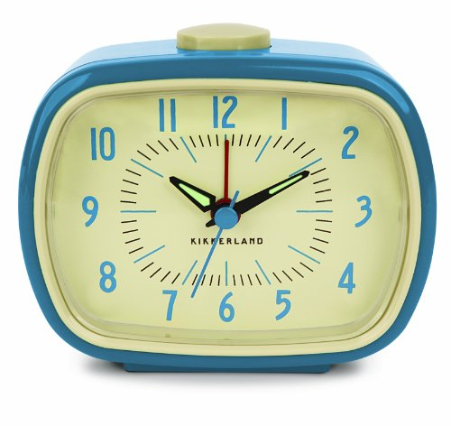 Kikkerland Retro Alarm Clock, Blue