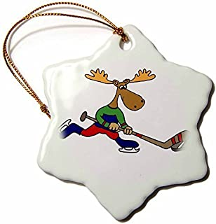 Delia32Agnes Funny Cute Moose Playing Ice Hockey Cartoon Ceramic Christmas Ornaments for Home Christmas Tree Decoration Keepsake