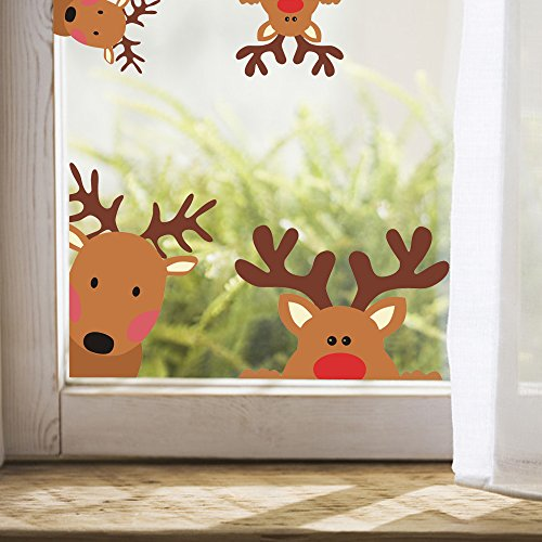 TOARTi Reindeer Window Decals Nursery Wall Stickers Car Decal Home Decorations, 10 Count (Reindeer Decals)