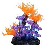 Migimi Decoración para acuario, plantas acuáticas artificiales de coral, decoración de silicona, plantas de acuario, peces falsos, decoración multicolor, hermoso y no se decolora.