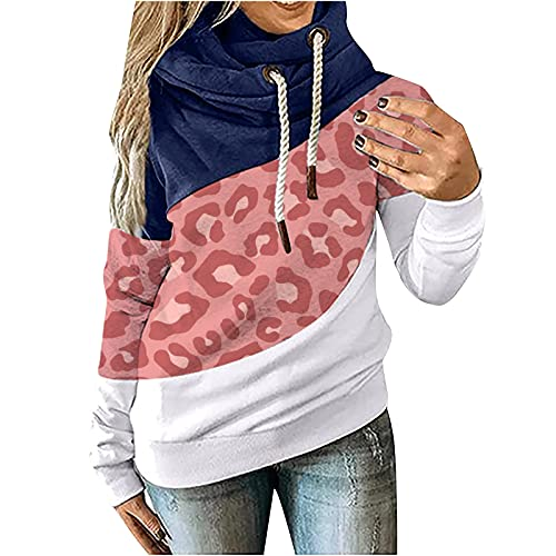 Women's Hoodies Casual Pullover Color Block Long Sleeve Fall Tops Drawstring Sweatshirts with Pocket