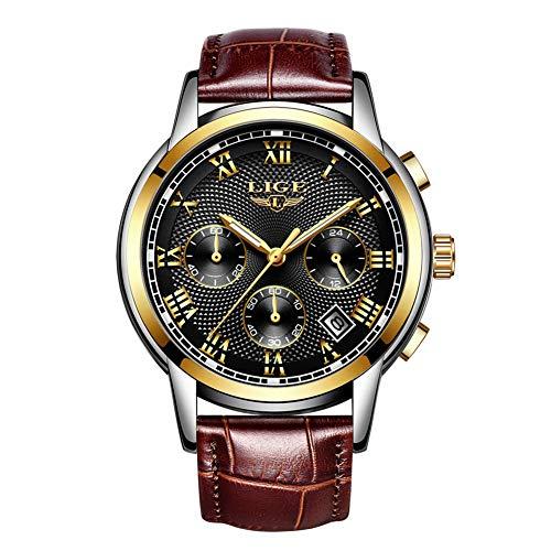 LIGE Relojes Hombre Relojes de Cuarzo Cuero Marrón la Correa Impermeable Cronógrafo Deportivos Relojes de Pulsera para Hombre BGS9849 (Negro)