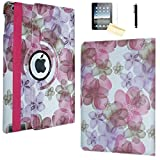 iPad 9.7 2018/2017 Case, JYtrend (R) Rotating Stand Smart Case Magnetic Auto Wake Up/Sleep Cover for A1893 A1954 A1822 A1823 MP2G2LL/A MP2J2LL/A MPGT2LL/A MPGW2LL/A MP2F2LL/A MP2H2LL/A (Pink Flower)