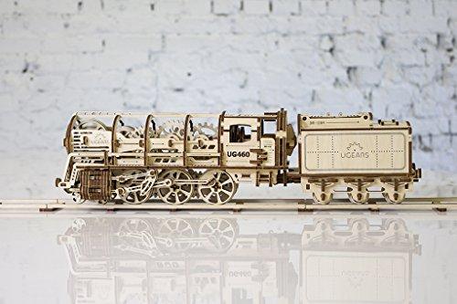 UGEARS-Locomotora con Remolque 70012 – Locomotive con Tender, 3D de Madera Montar sin Pegamento, Color Unisex