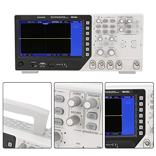 Oszilloskop, DSO4202S 2 in 1 Digitaloszilloskop 2CH 200MHz + 25M Signalgenerator AC100-240V(EU)