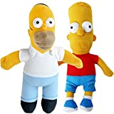 TE-Trend Simpsons Merchandising Muñeca de Trapo Tela Figuras Simpsons muñeca Barba Homer Simpson 25 cm - Barba y Homer Simpson
