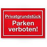 Privatgrundstück - Parken Verboten Kunststoff Schild (rot), Parkverbotsschild Grundstück - Parkverbot/Halteverbot, Privatgrund - Hinweisschild, Verbotsschild abgestellte Fahrzeuge