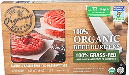 The Organic Meat Co, Organic Grass-Feed Beef Burgers, 4 Count, 16 oz (Frozen)
