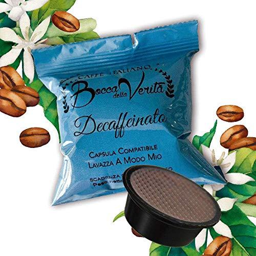BOCCA DELLA VERITA Café Italiano - Caja de 100 Cápsulas - Sabor DESCAFEINADO, Compatible con Cafetera Lavazza A Modo Mio, 100% Made in Italy