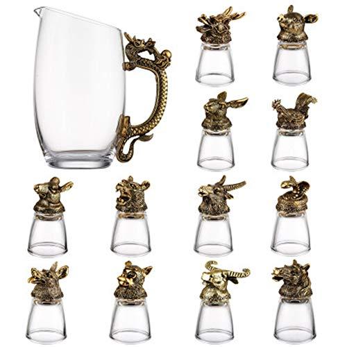 OMLTER Decantador Conjunto con 12 Vino Vaso, Casa Creatividad Animal Forma Vidrio Licorera, Vino Dispensador, Transparente Decantador Conjunto para Espíritu, Whisky, Vodka