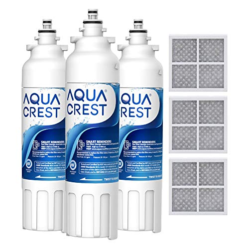 AQUA CREST ADQ73613401 Refrigerator Water Filter and Air Filter, Replacement for LG LT800P, ADQ73613402, ADQ73613408, ADQ75795104, Kenmore 9490, 46-9490 and LT120F (Pack of 3)