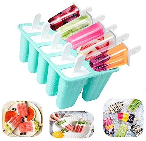 Moldes de helados,moldes reutilizables de silicona, 10 celdas Ice Cream Mold, Ice Lolly Moulds, Molde para Hacer Helados Caseros(Verde)