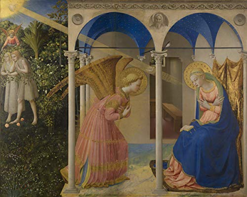 Fra Angelico Giclee Print On Paper-Famous Paintings Fine Art Poster-Reproduction Wall Decor(The Annunciation From From In Earth Main Panel) #XZZ