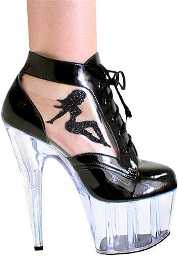 ZXXxxZ Baotou Stiletto Femmes Un Un Mot Transparent Plateforme Imperméable en Cuir Talons Hauts Cheville Bretelles Mode Femme été  magasin fait l'achat et la vente