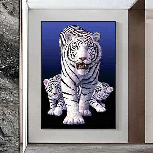 Vida silvestre tigres blancos familia arte lienzo pintura pared arte cuadro decorativo animales tigres carteles e impresiones para sala de estar 50x70 CM (sin marco)