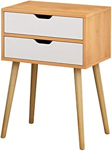 Beyonds Bedside Table with 2 Drawers, Wooded End Table Bedside Cabinet, Home Storage Unit, Nightstand for Bedroom White