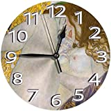 時計 壁掛け時計アナログクロックインテリア円形 静音 グスタフ?クリムト?ダナエ 印刷 掛置兼用フラットフェイス 家寝室居間 直径25cm 部屋装飾
