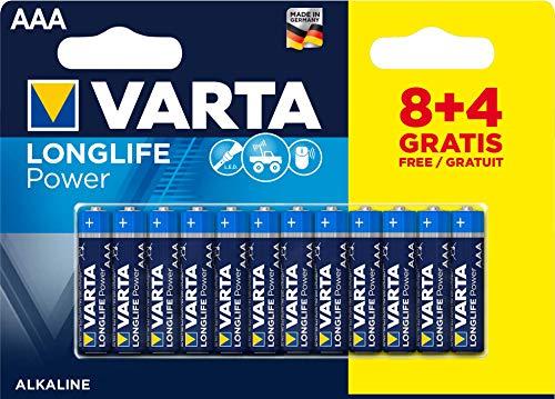 VARTA Longlife Power AAA Micro LR03 Batterie, Alkaline Batterie, ideal für Spielzeug Taschenlampe Controller und andere batteriebetriebene Geräte (8+4er Pack)