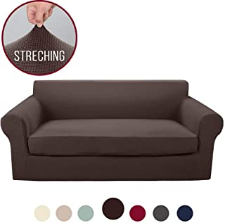 Vailge 2-Piece High Stretch Jacquard Sofa Slipcover, Durable Sofa Cover with Separate Cushion Cover, Machine Washable Couch Covers/SlipCover for Dogs,3 Cushion Couch,Kids,Pets(Sofa:Chocolate)
