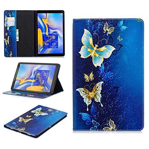 RZL Pad y Tab Fundas para Samsung Galaxy Tab A 10.1 T580 Tab A 8.0 T380 T350, Tapa de Tableta de Flip a Prueba de choques de impresión de Mariposa Colorida para Samsung Galaxy Tab A 10.1