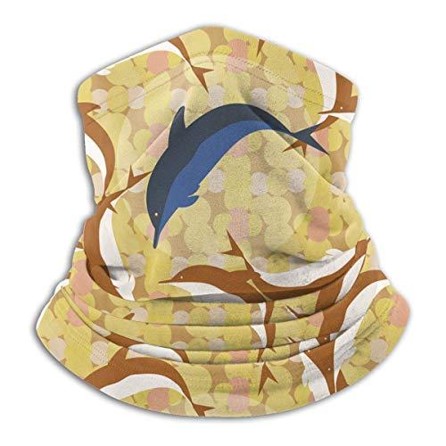 Lawenp Delfines bajo el agua Fleece Cuello Calentador Bufanda a prueba de viento Bandana Cara cuello Polaina Actividades al aire libre