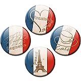Kühlschrankmagnete Länder Flagge Frankreich Liebe 4er Geschenk Set Vintage Magnete für Magnettafel stark groß Ø 50 mm