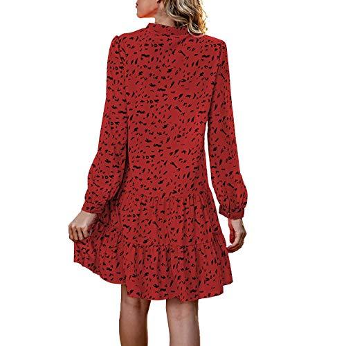 GOUWANdamen Mode V-Ausschnitt Kleider midi a Linie Kleider midi Blumenkleid A-Linie Kleid Langärmeliges Kleid Flowy Kleid Freizeit Kleider Party Kleider