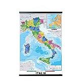 Grupo Erik Appendi Stecche magnetiche, Poster Cartina dell'Italia Politica + Cornice, 61x91,5