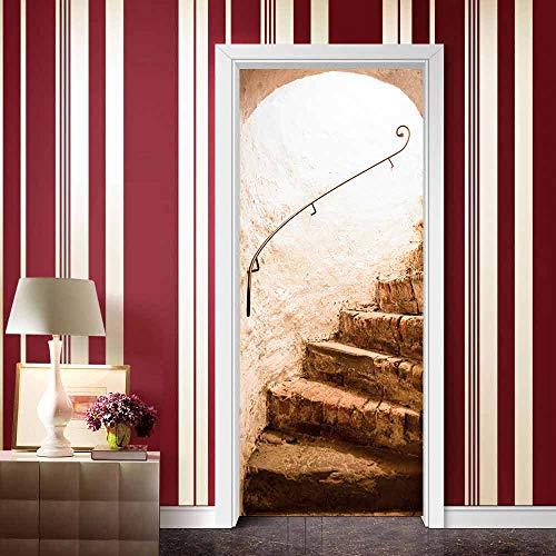 Pegatinas de puerta extraíbles, impermeables y autoadhesivas, decoración del hogar de vinilo para dormitorios y baños, escaleras de suelo