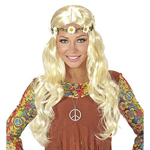 Widmann 04658 - Hippie of middeleeuwse pruik met bloemenhoofdband in zak, één maat