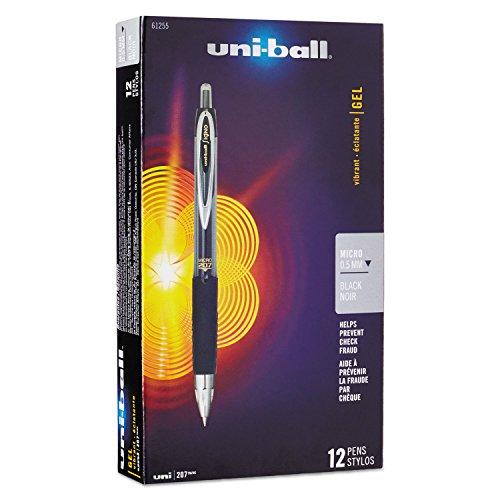 uni-ball 61255 Signo Gel 207 Roller Ball Retractable Gel Pen Black Ink Micro Fine Dozen