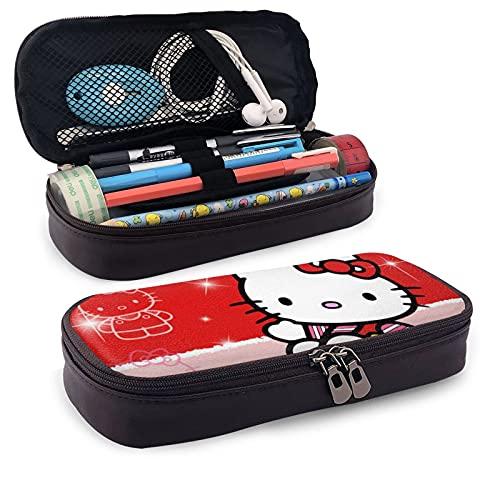 Hello Kitty - Estuche de piel con diseño de anime y gato, color rojo