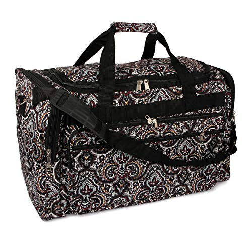 Carryall Versatile Shoulder Strap Duffle Bag - Lightweight Print Weekend Travel Luggage for Gym, School (Black - Multi Paisley)