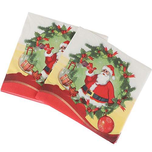 Qingb 20Pcs / Set Creative Santa Claus Belle Serviettes d'impression Serviettes de Noël Serviettes d' Arbre de Noël pour Home Store Party, comme pic