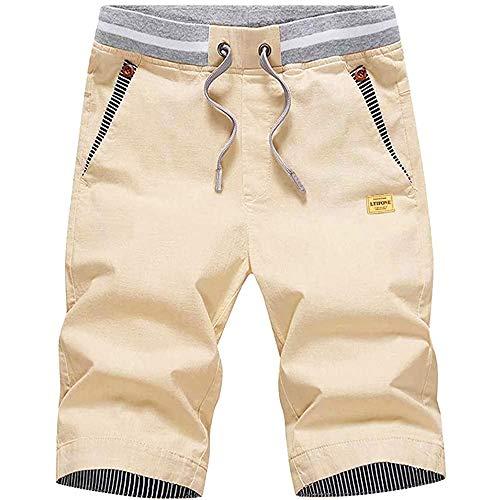 LTIFONE Mens Shorts Casual Regular Fit 9.5' Inseam,Cotton,Drawstring,Summer Beach Shorts,Skate with Elastic Waist and Pockets(Khaki,XXL)